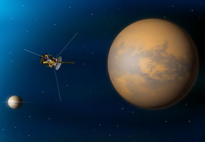 Illustration of Cassini spacecraft at Titan.