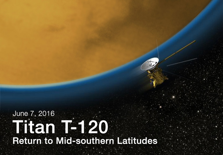 Artist's rendition of Titan flyby T-120