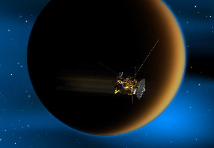 Illustration of Cassini at Titan.