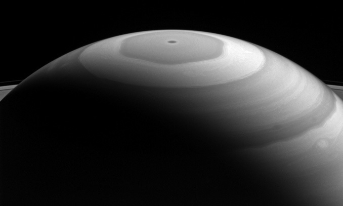 Saturn's north polar region displays its beautiful bands and swirls, which somewhat resemble the brushwork in a watercolor painting. › Full caption