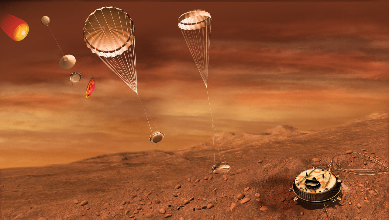 Artist's impression of Huygens' descent and landing sequence