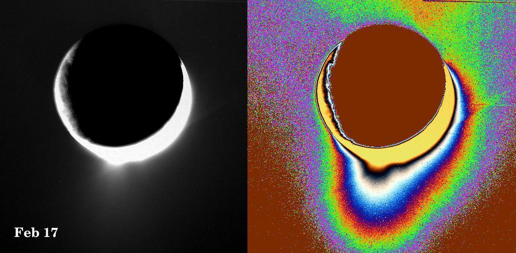 Color enhanced images that show eruptions on Enceladus.