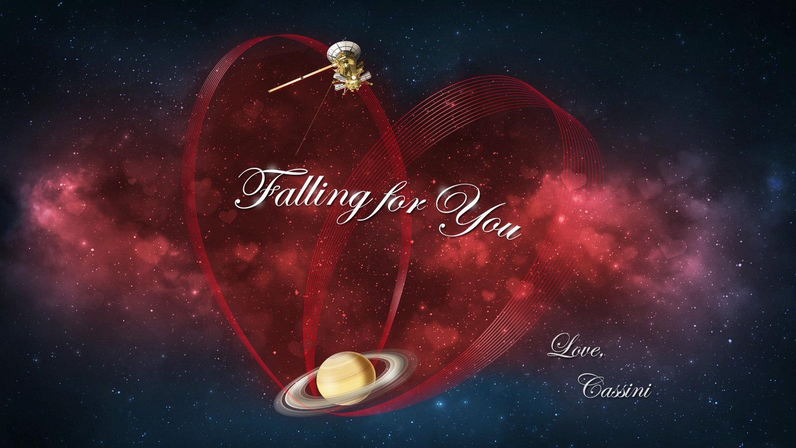 Happy Valentine's Day from Cassini at Saturn.