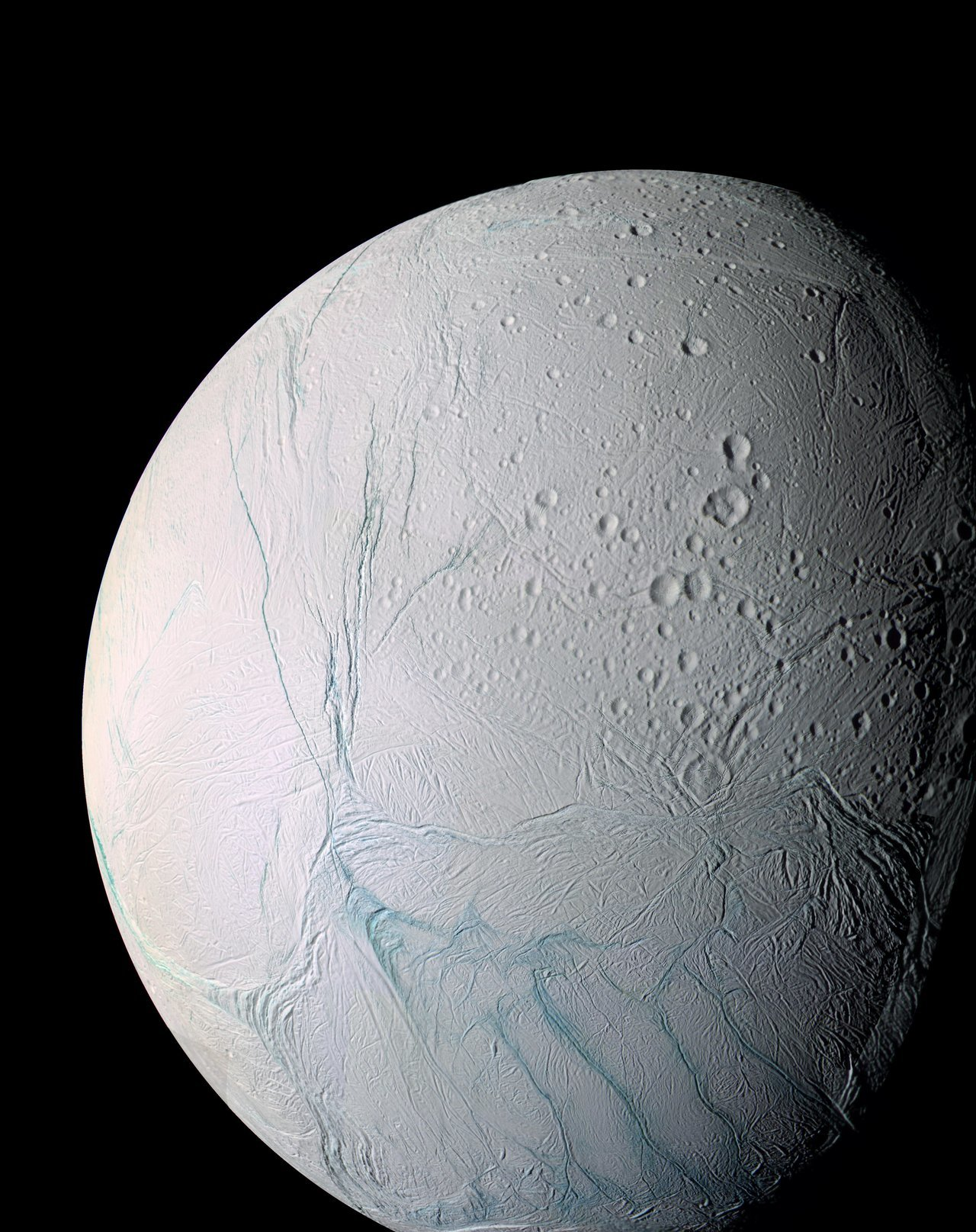 Color image of bluish white Enceladus.