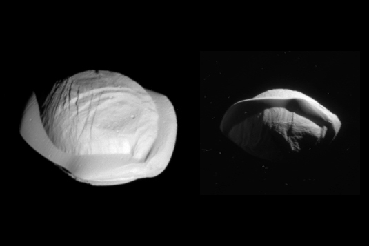 3-D images of Saturn's moon Pan.