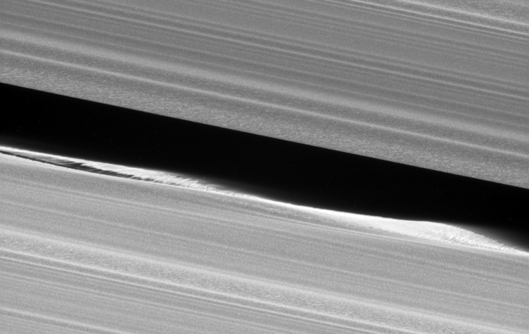A close-up view of the Keeler Gap in Saturn's rings