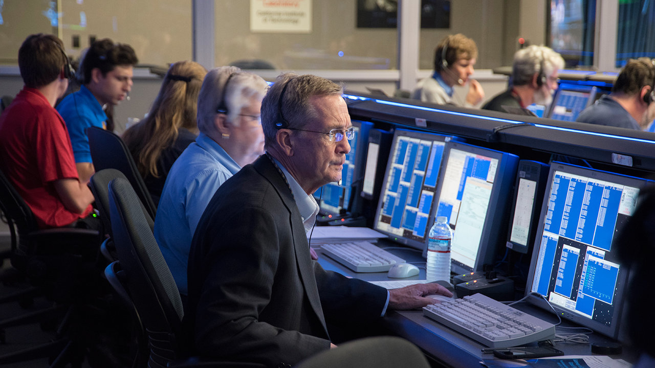 "Cassini Project Manager Earl Maize waits for the spacecraft's signal at the start of the ""Grand Finale"" mission phase with the operations team in mission control at JPL on April 26, 2017. Credit: NASA/JPL-Caltech > Full image and caption"