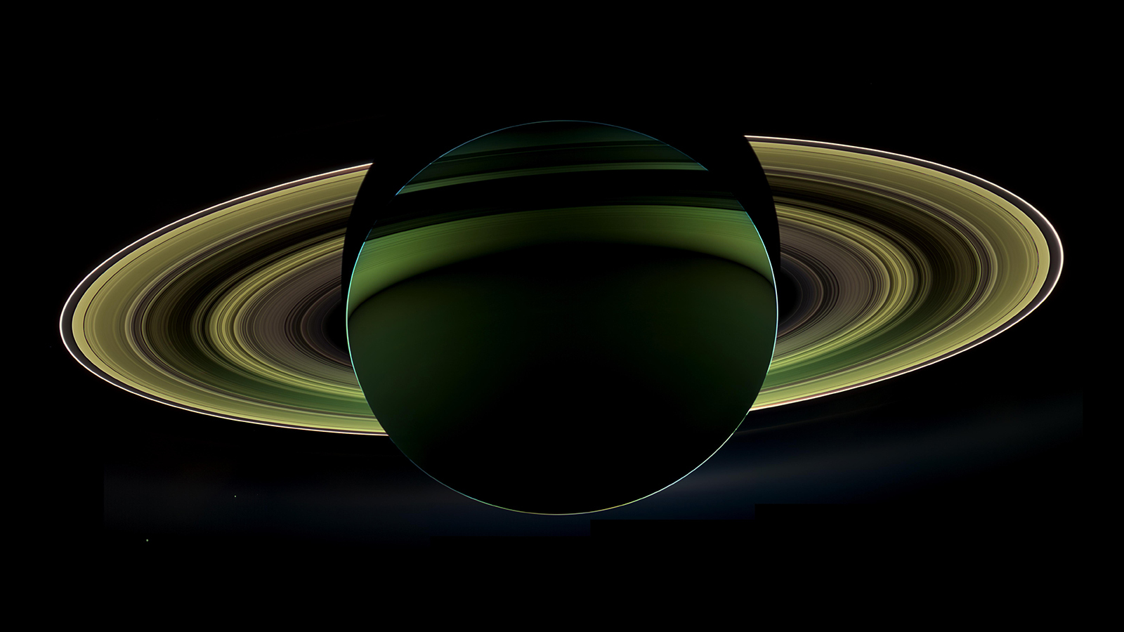 Color enhanced image of Saturn