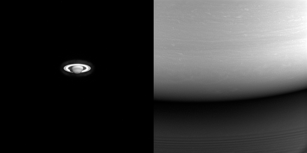Two images of Saturn,