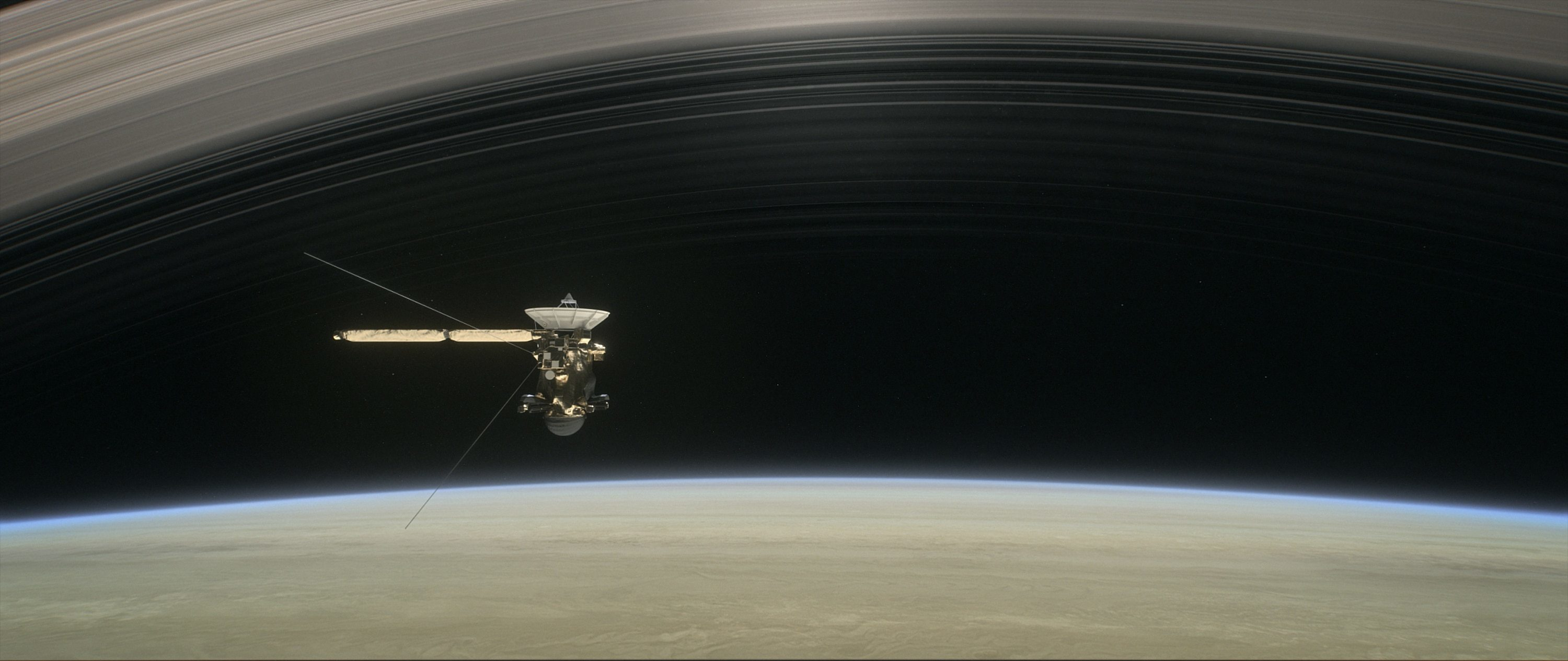 This artist's rendering shows Cassini as the spacecraft makes one of its final five dives