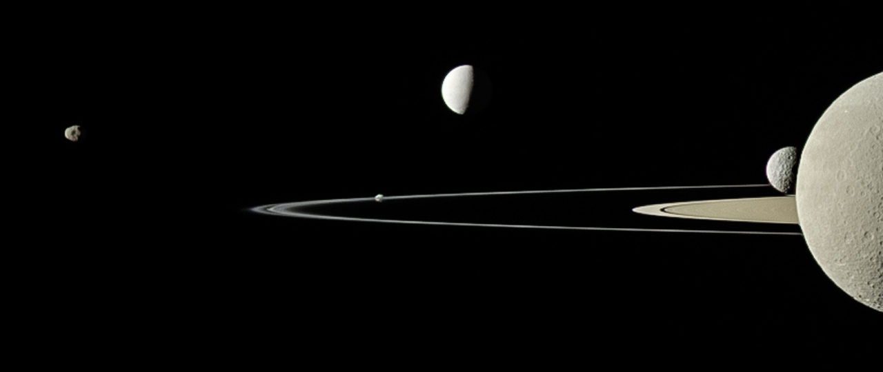 On July 29, 2011, Cassini captured five of Saturn's moons in a single frame with its narrow-angle camera. This is a full-color look at a view that was originally published in September 2011. › Full image and caption