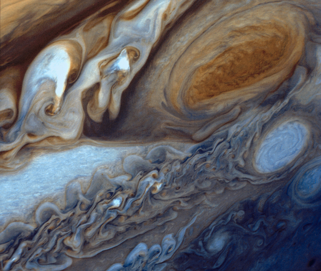 This close-up of swirling clouds around Jupiter's Great Red Spot was taken by Voyager 1. Credit: NASA/JPL.