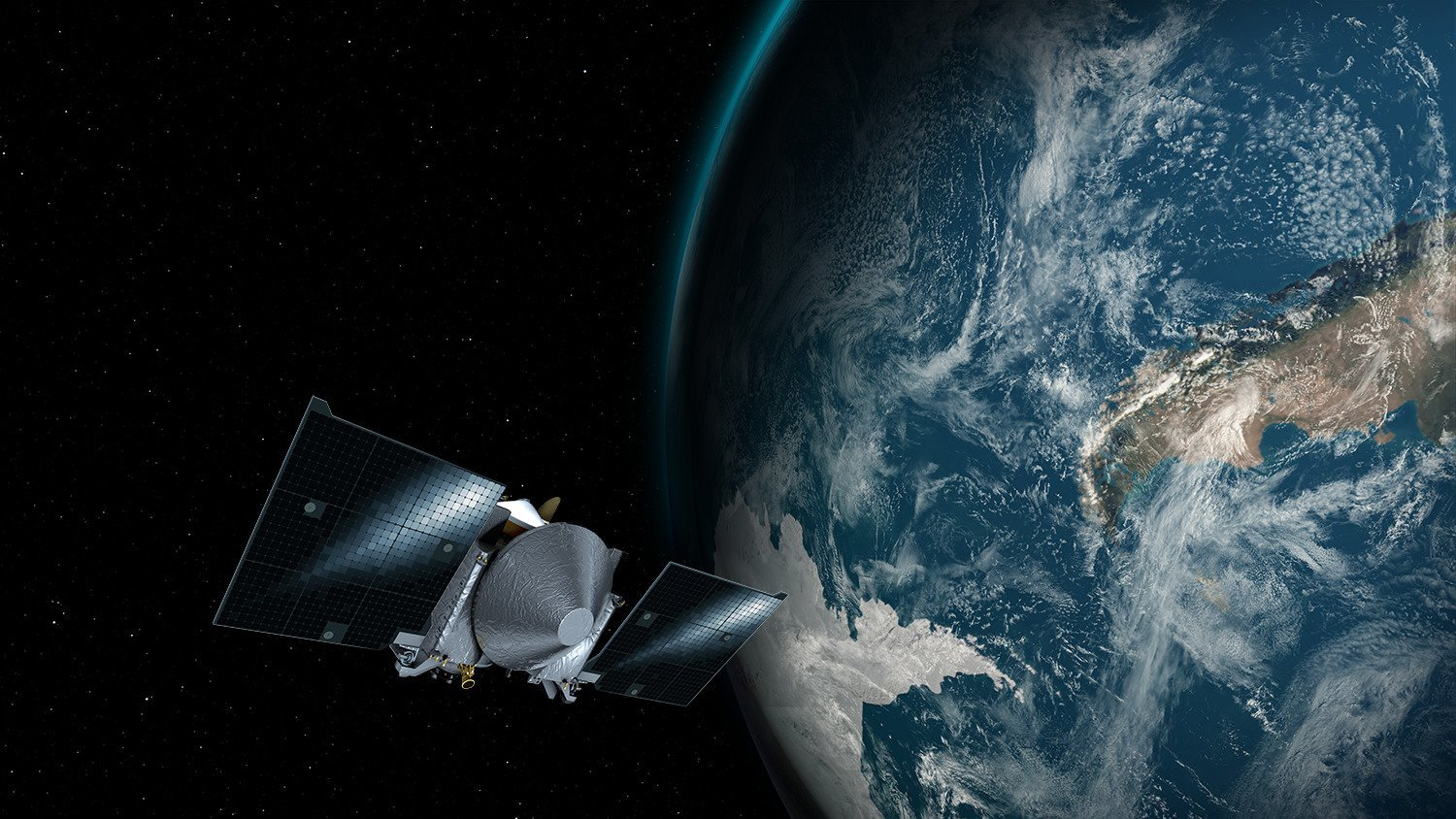 Illustration showing the OSIRIS-REx spacecraft passing near Earth on Sept. 22, 2017. Credit: NASA/University of Arizona