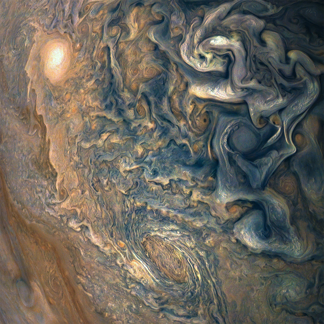 Close up of Jupiter's swirling clouds.