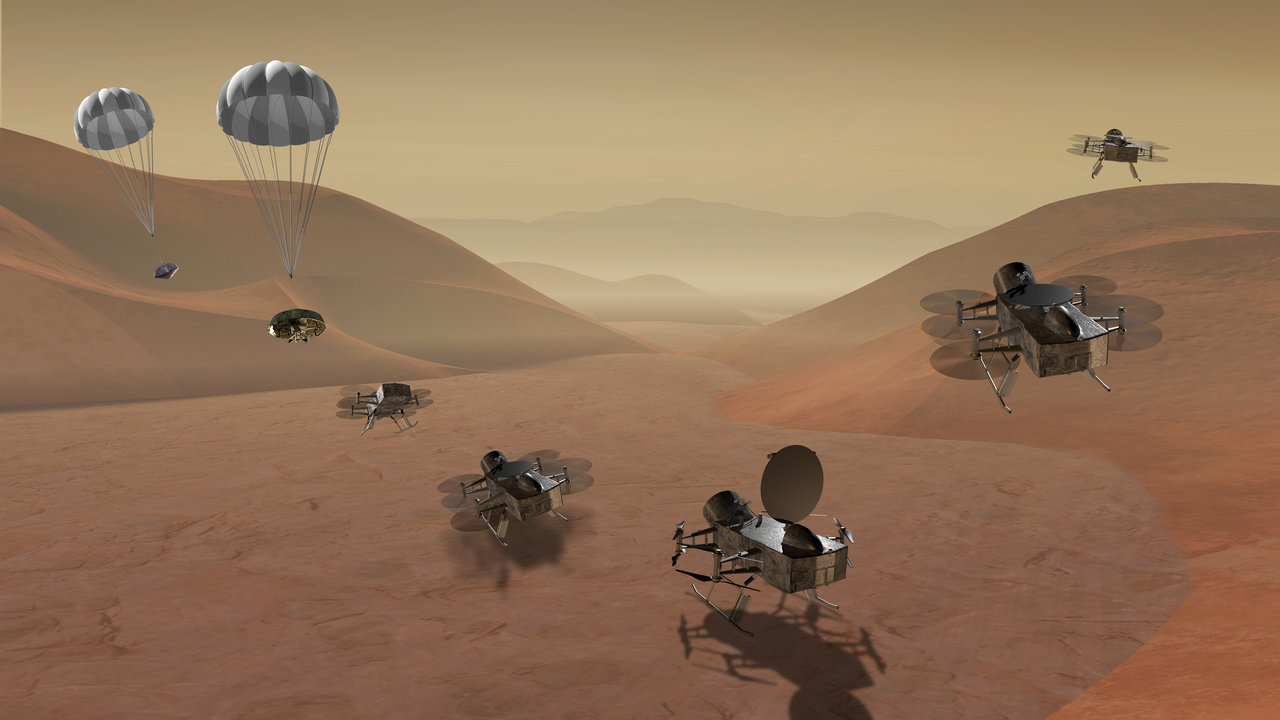 quadcopter depicted flying over surface of Titan