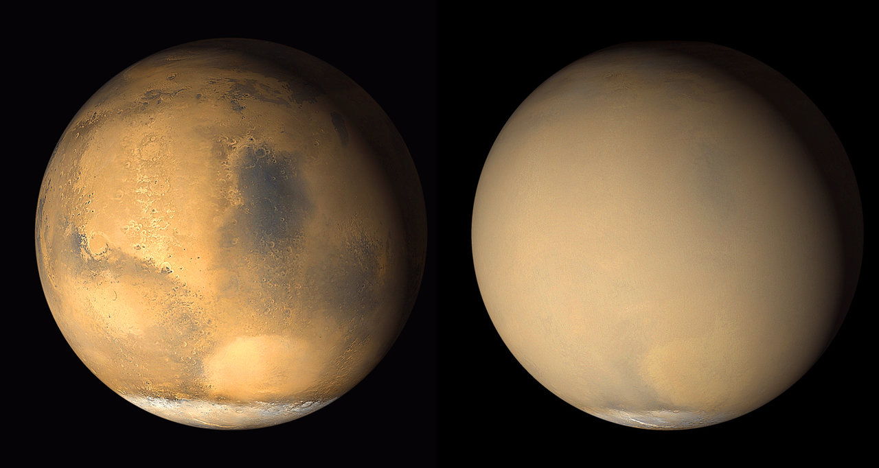 two global views of mars, one clear, one hazy