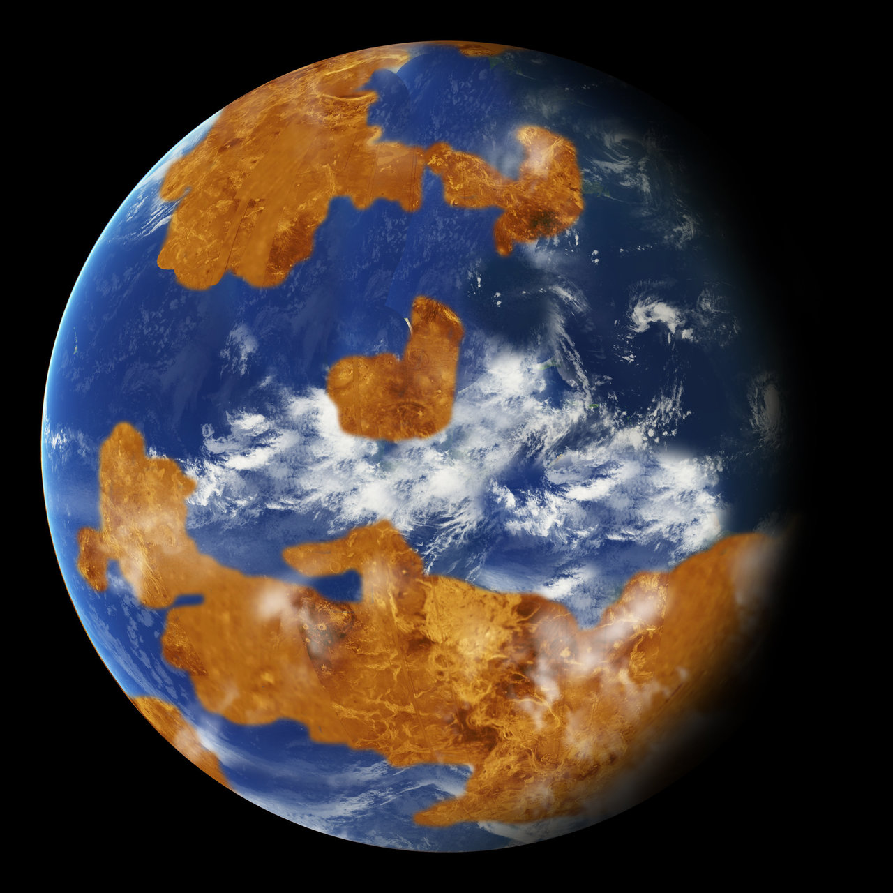 Observations suggest Venus may have had water oceans in its distant past. This artist's concept shows a land-ocean pattern used in a climate model to show how storm clouds could have shielded ancient Venus from strong sunlight and made the planet habitable. Credits: NASA