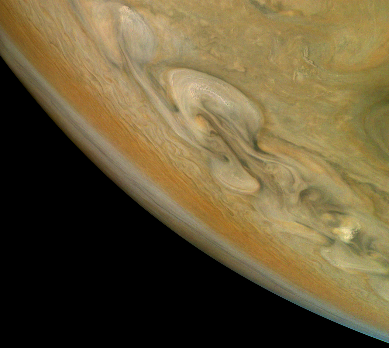 Jupiter's colorful, swirling clouds.