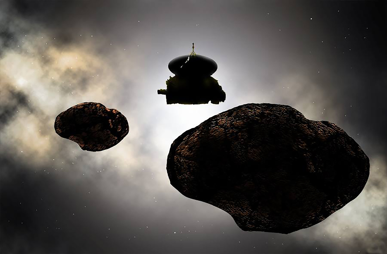rocky objects and spacecraft in space
