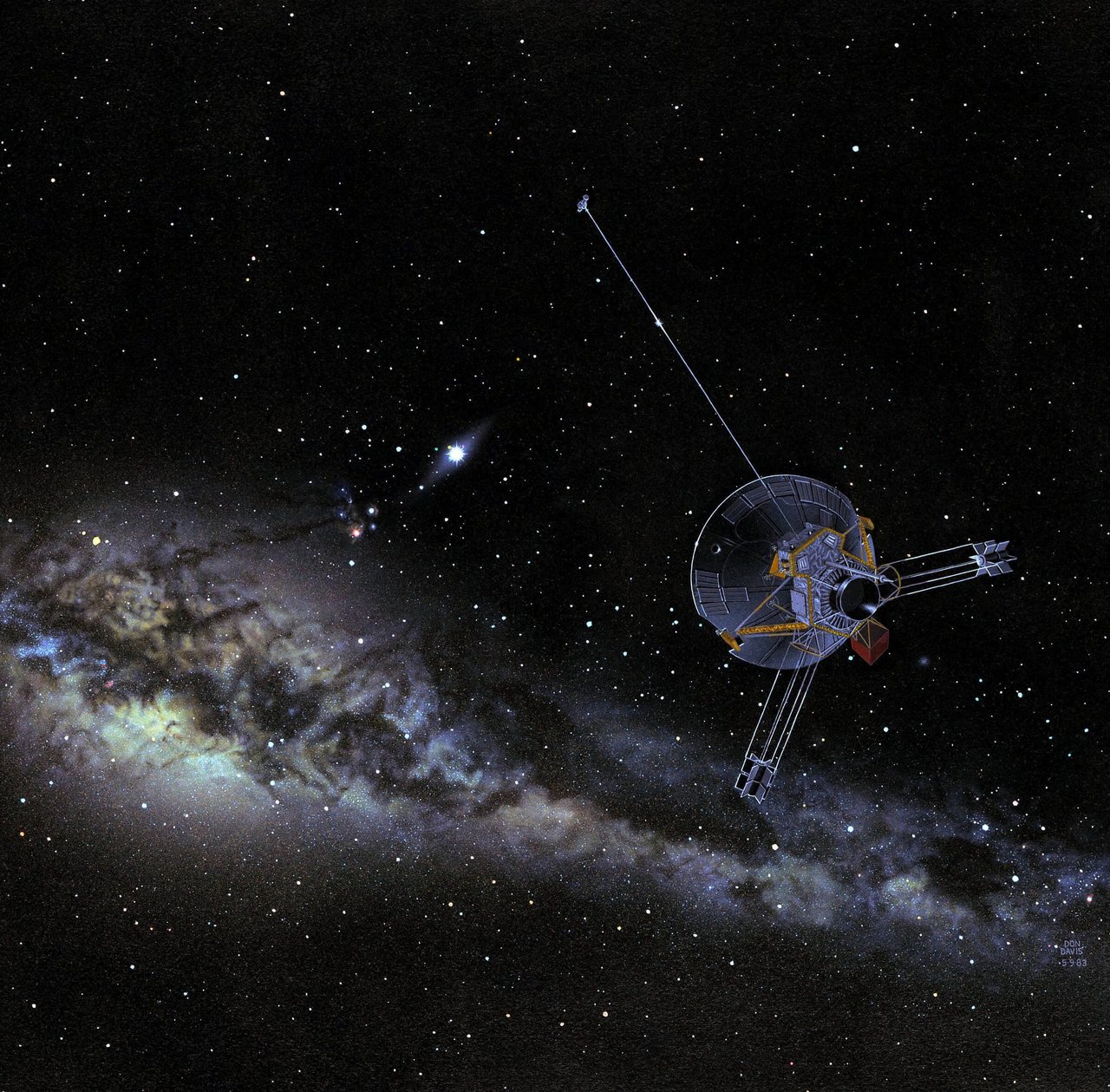 Spacecraft with Milky Way in background.