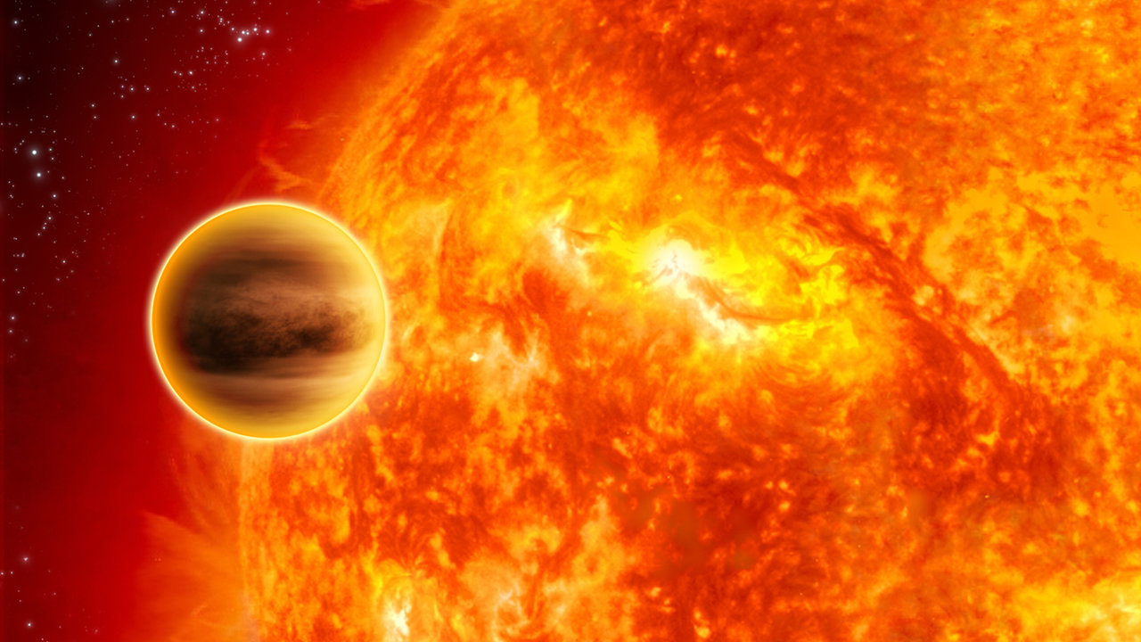 Illustration of planet very close to star.