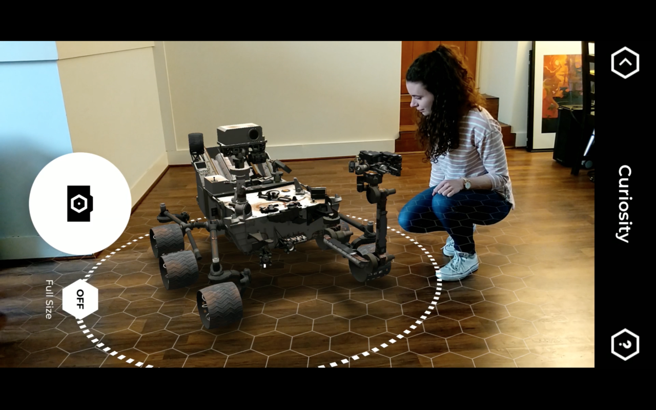 The Curiosity Mars rover depicted in virtual 3-D