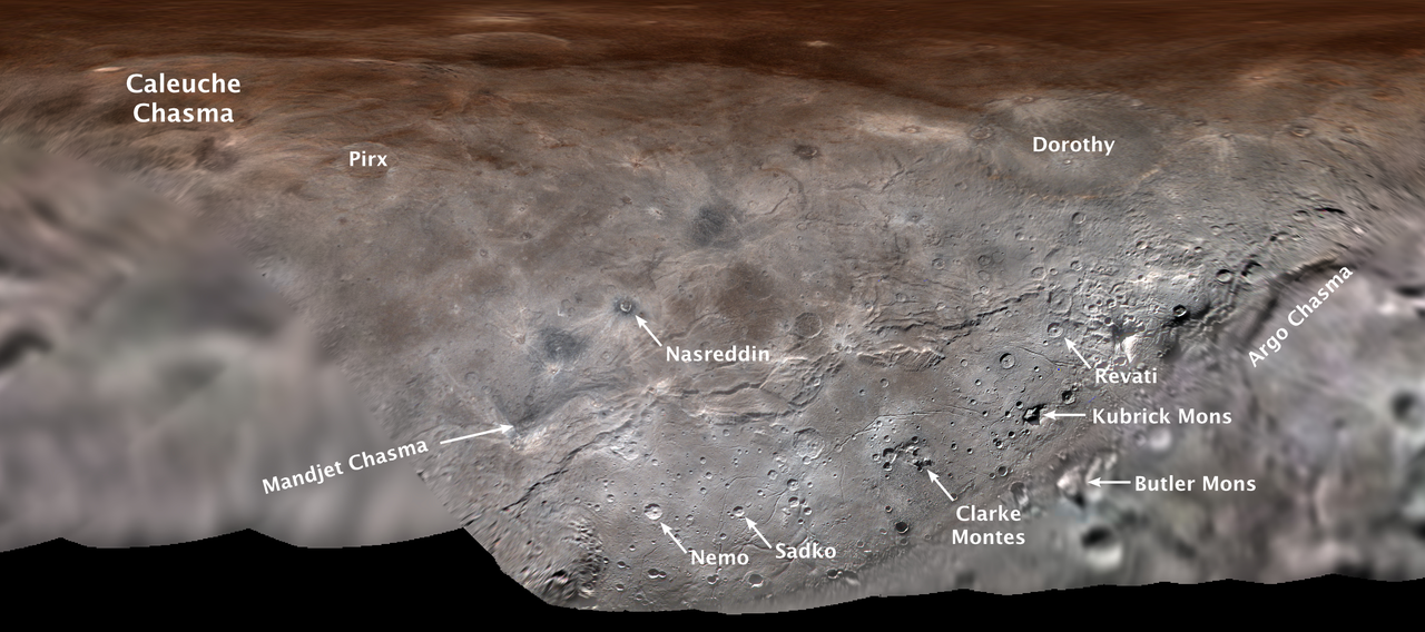 Map projection of Charon annotated with its first set of official feature names