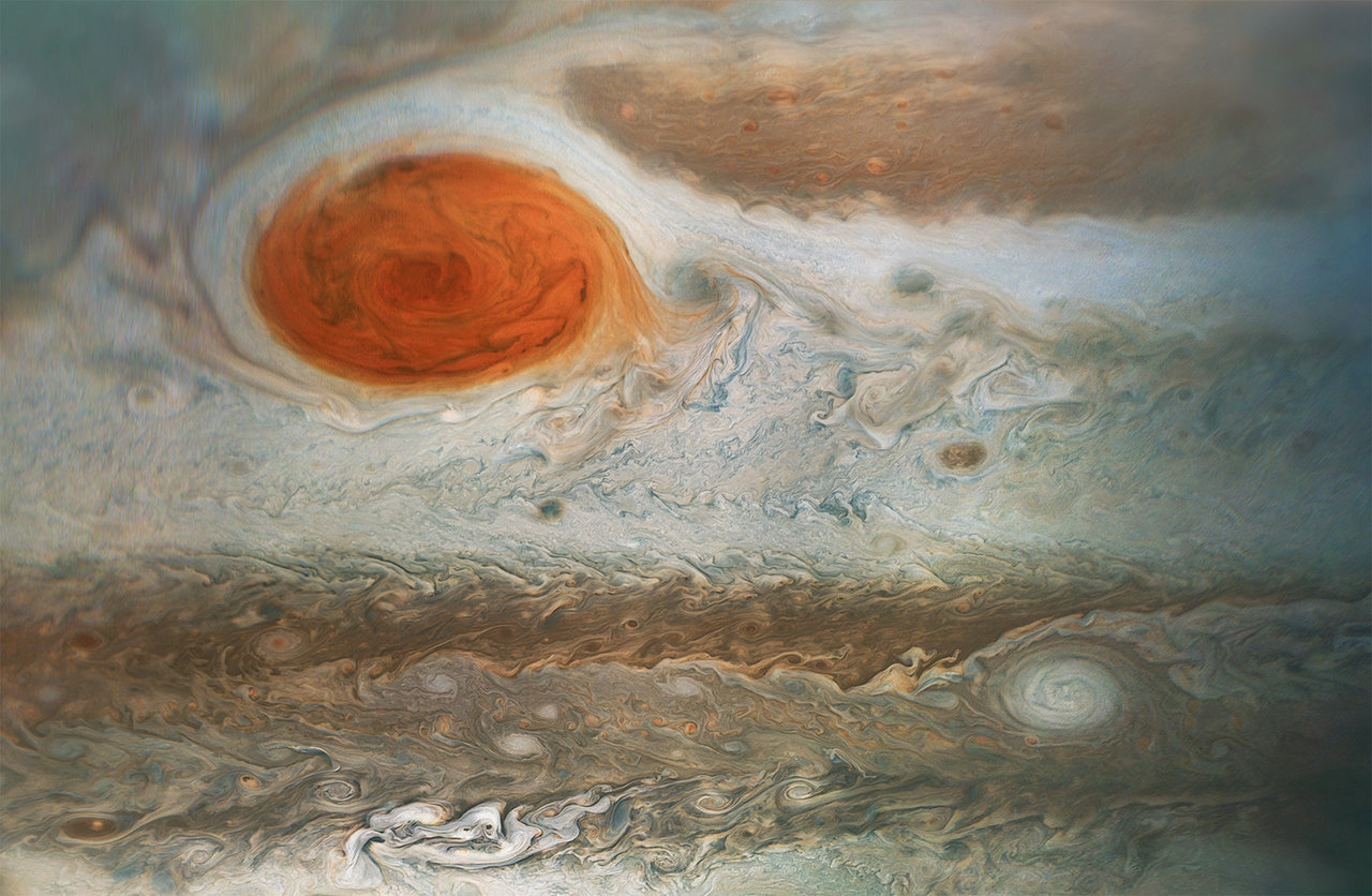 colorful, turbulent clouds of Jupiter's atmosphere