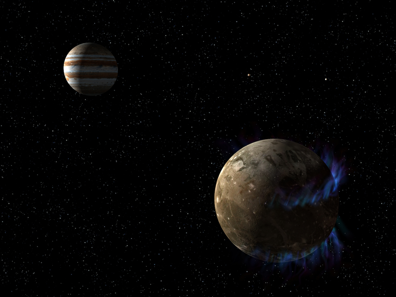 jupiter and ganymede in space with bright auroras surrounding ganymede