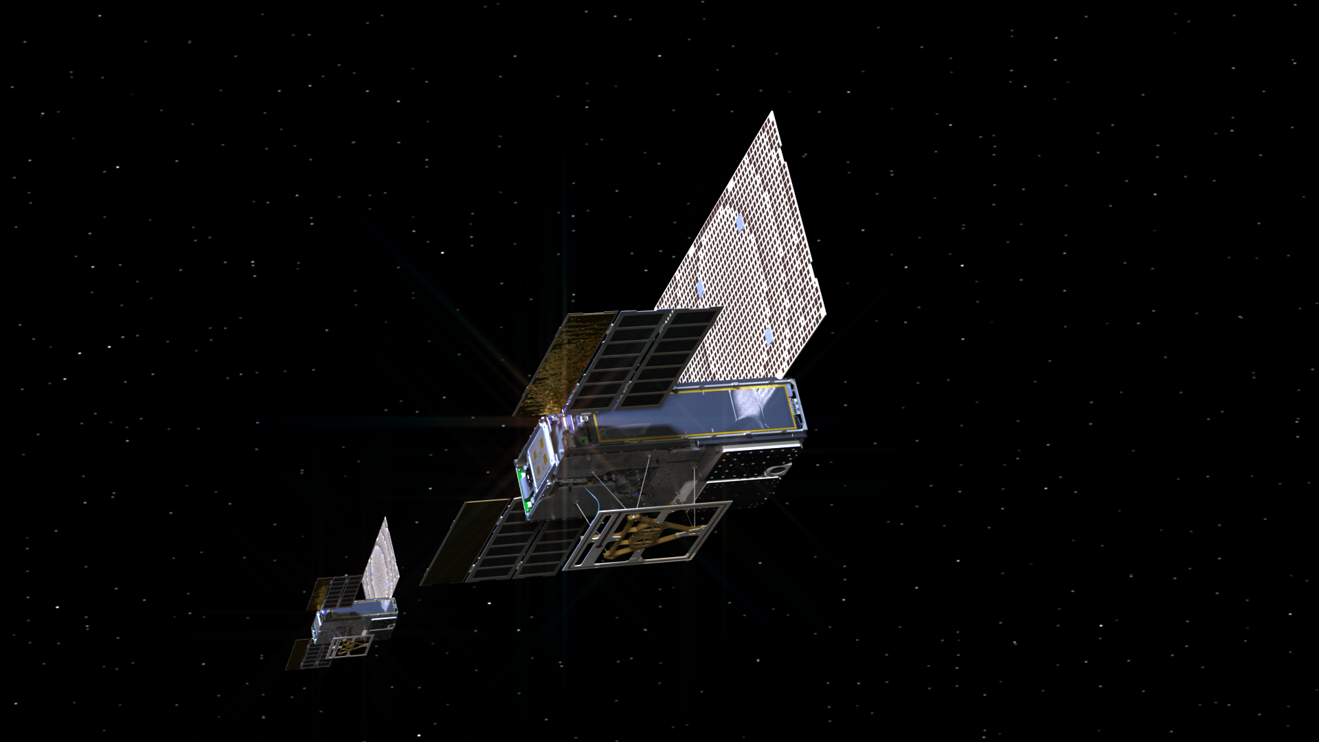 Artist's illustration of MarCo cubesats in space.
