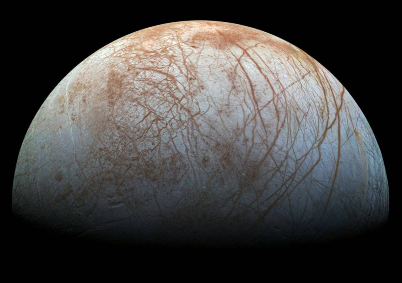 cracked surface of europa
