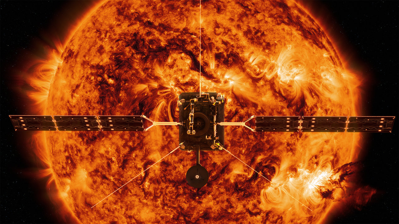 spacecraft in front of sun