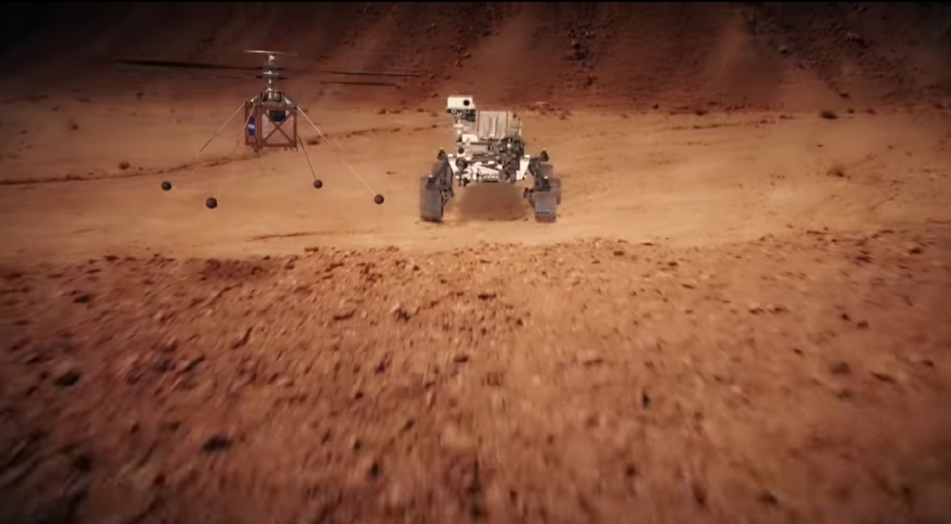 animation of helicopter flying near rover