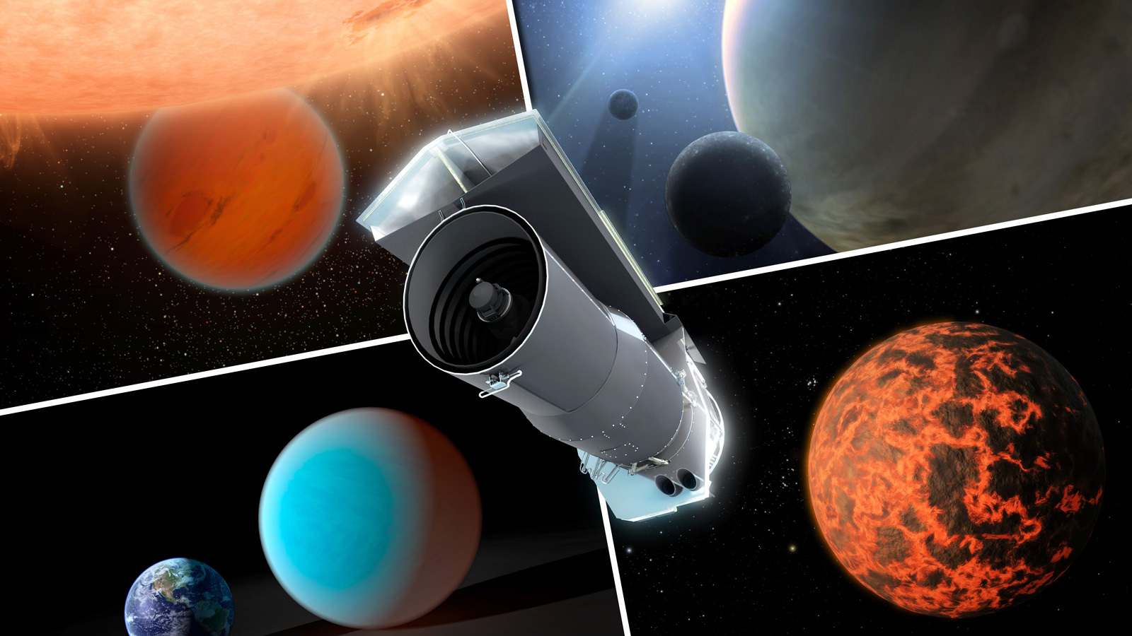Composite artist's concept of Spitzer and some of its discoveries.