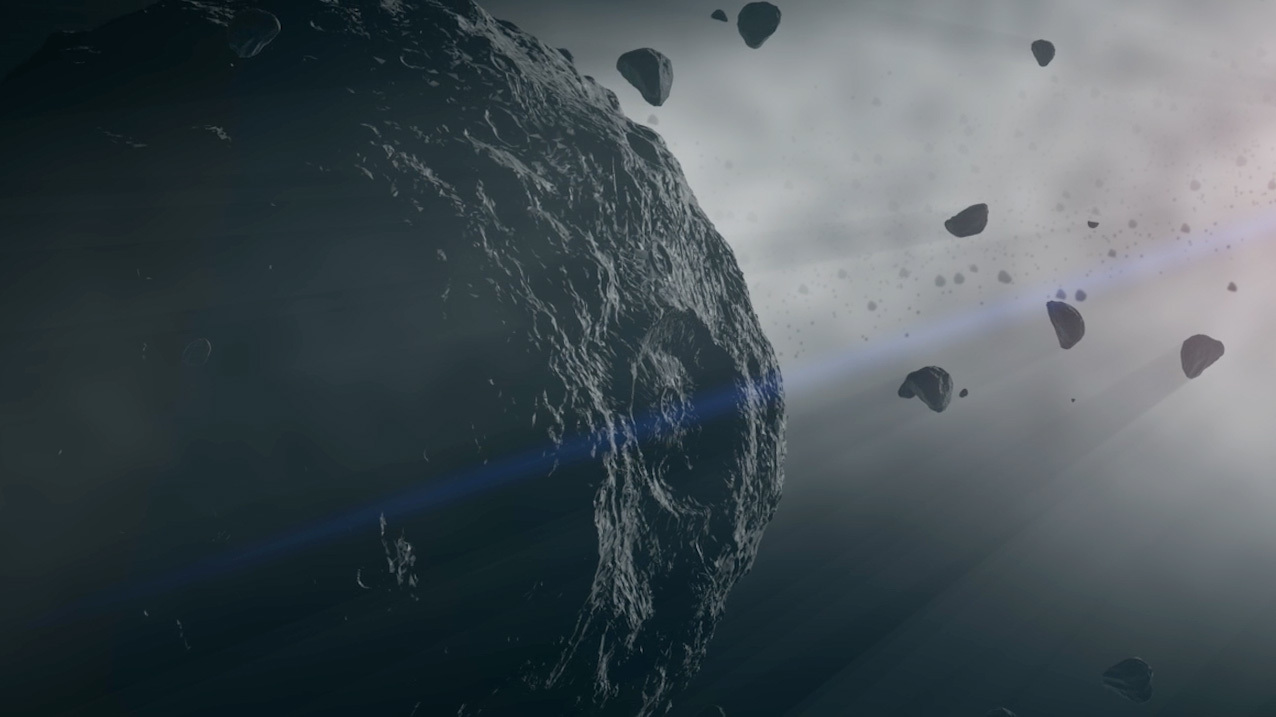 Illustration of asteroid in space.