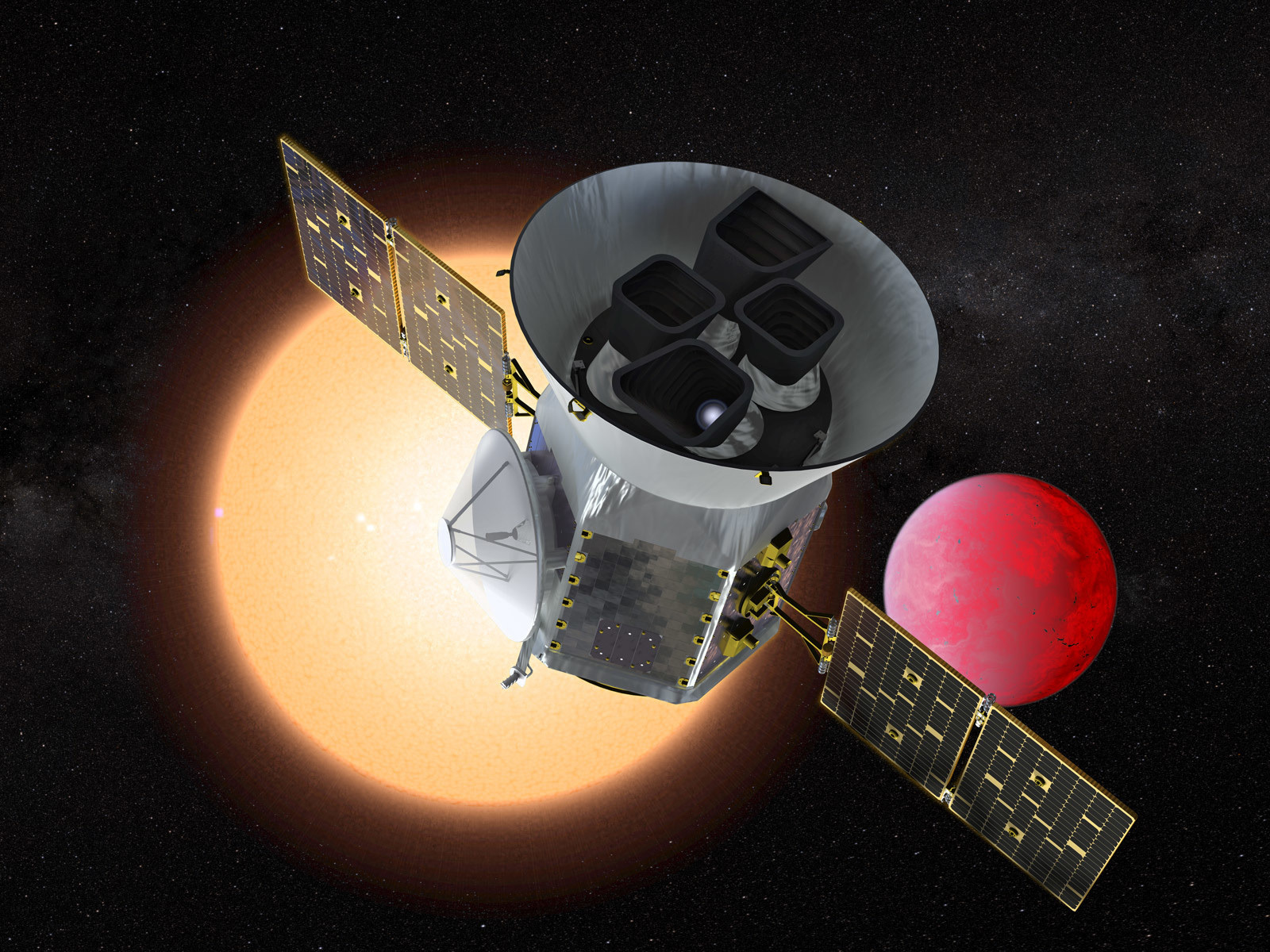 Illustration of spacecraft, distant star and lava planet.