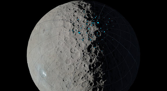 At the poles of Ceres, scientists have found craters that are permanently in shadow (indicated by blue markings).