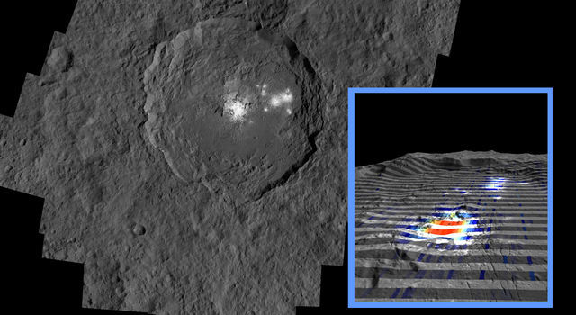 The center of Ceres' mysterious Occator Crater is the brightest area on the dwarf planet.