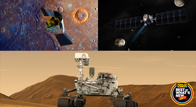 Artist concept of NASA's Dawn mission and Mars Science Laboratory