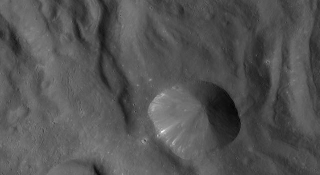 In this image of Vesta north is up and the upper right corner is to the northeast.