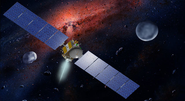 NASA's Dawn spacecraft, illustrated in this artist's concept, is propelled by ion engines.