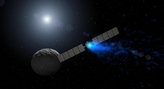 Artist's concept of NASA's Dawn spacecraft orbiting dwarf planet Ceres.