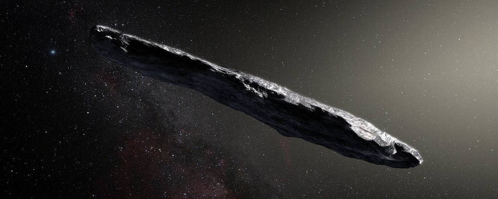 elongated rocky object in space