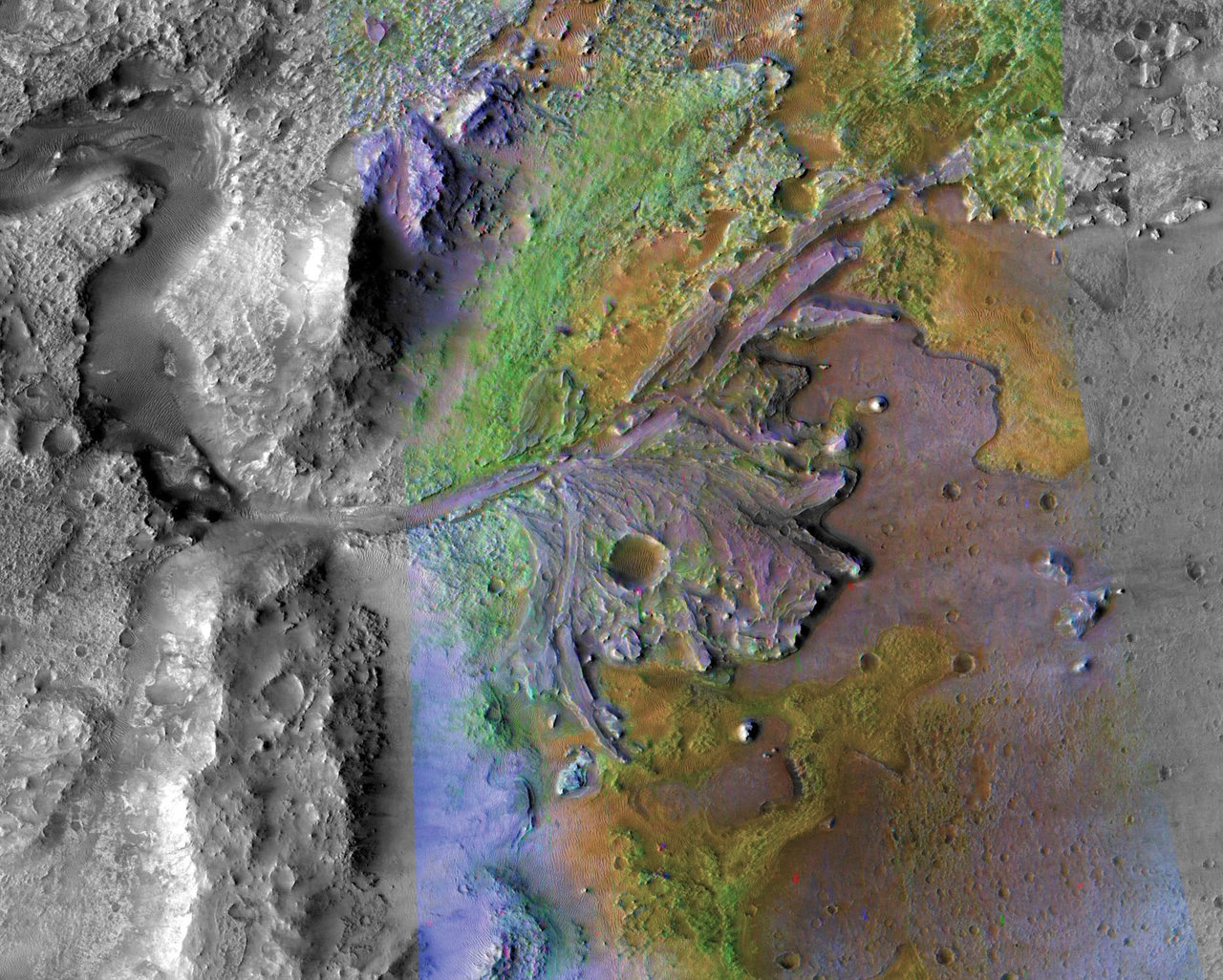 overhead view of ancient river delta on mars