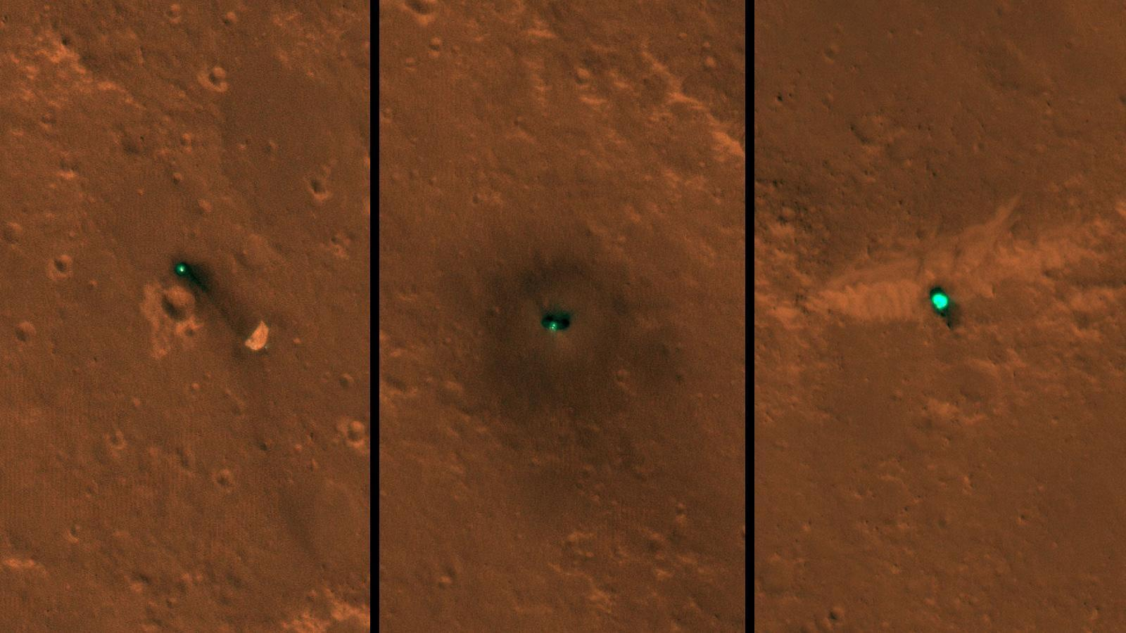 three views of hardware on the surface of Mars seen from above