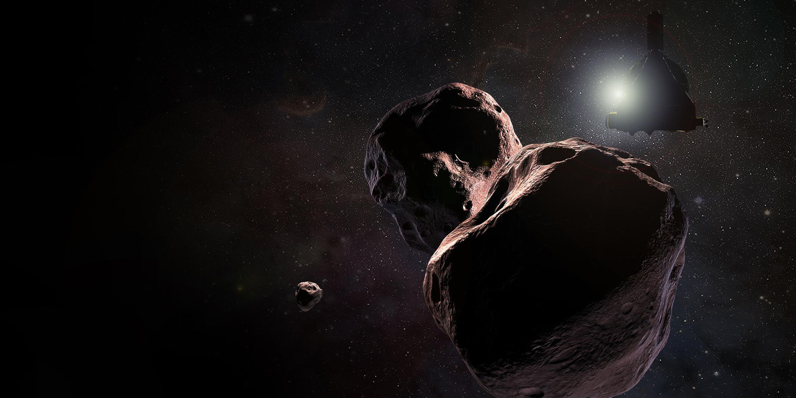 Illustration of spacecraft near a giant space rock far from the Sun.