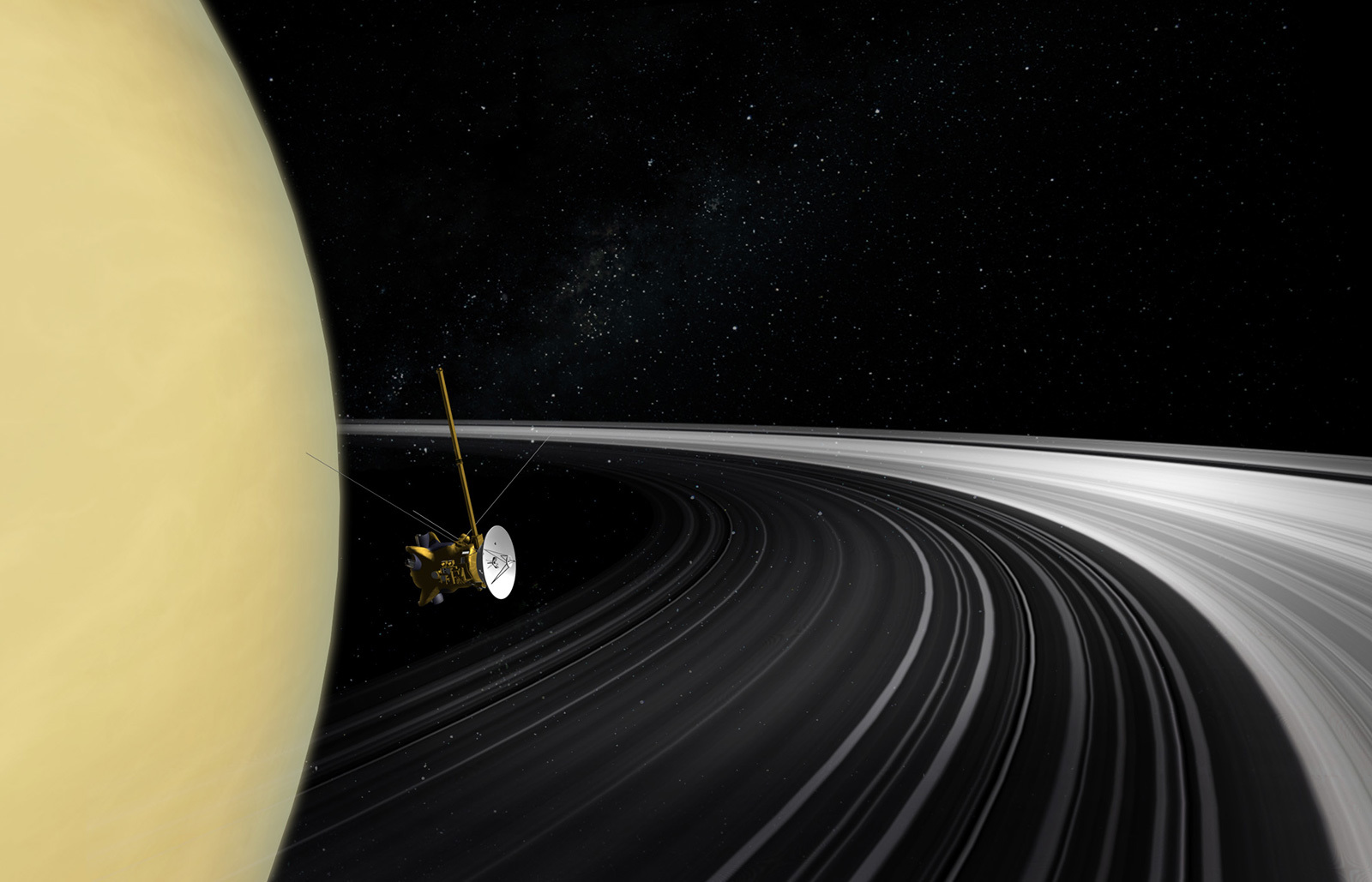 spacecraft passing between Saturn and the rings