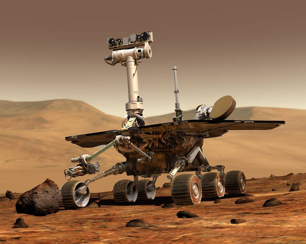 illustration showing rover on rocky surface of Mars