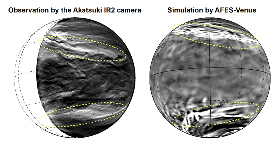Black and white images of cloud swirls on Venus.