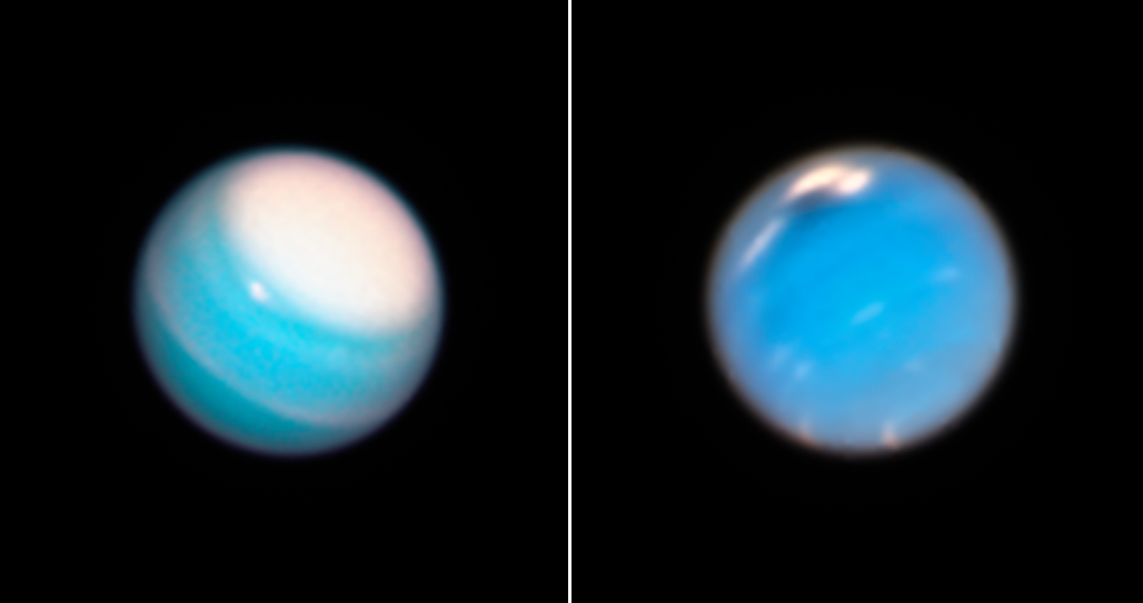 Images of two bluish planets with visible storms.